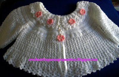CROCHE E TRICO PARA OS PEQUENINOS: Casaquinho de croche p/ bebe no pt. Sônia Maria - receita