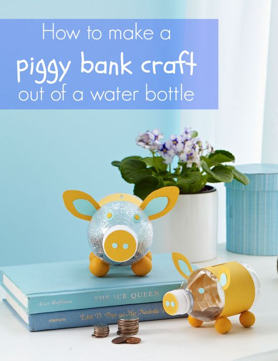 Piggy Bank Out of a Water Bottle | Printable Templates and Craft Ideas