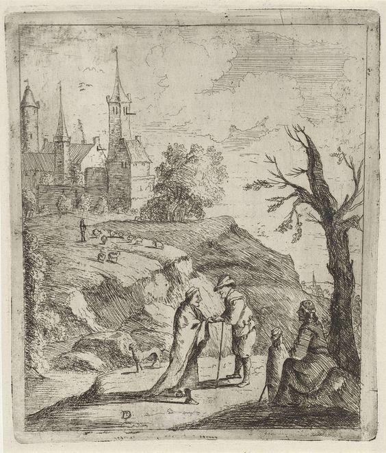 Anonymous   Landschap met waarzegster, Anonymous, 1700 - 1799   Landschap met enkele huizen en torens op een heuvel. Op de voorgrond leest een waarzegster de hand van een man. Onder een boom zit een vrouw met een kind.
