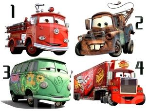 CARS 2 STICKER WALL DECO DECAL DISNEY RED MATER FILLMORE MACK