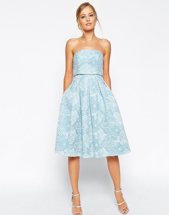 Image 1 of ASOS SALON Crop Top Embroidered Skater Dress:   Wedding guest dresses UK 21699b6ab86ea745fe0fe339668573d9