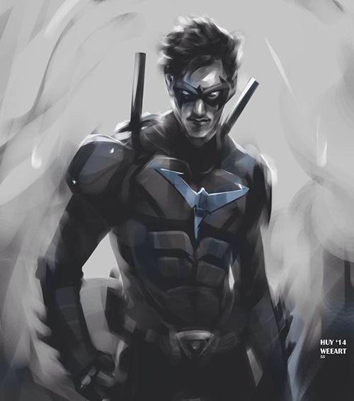 Nightwing Fils adoptif de Batman Affiliation Batman, Outsiders, Teen Titans, La Ligue des justiciers, The Society, Société de justice d'Amérique, JLA Alias Dick Grayson, Robin Née en 1940