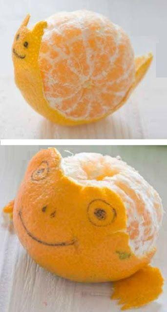 Caracol y rana hecho con piel de mandarina comidas - Postre con mandarinas ...