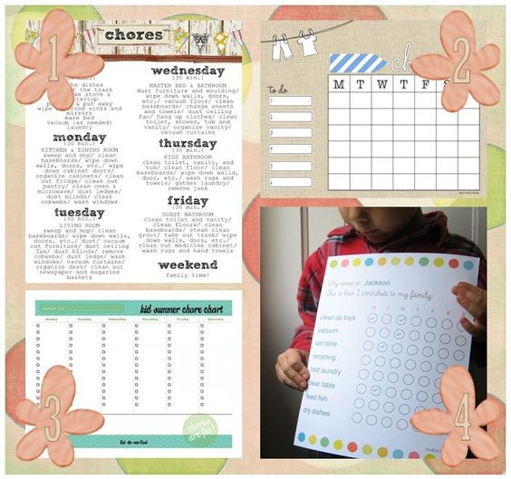 Summer Time Chores - using the summer chart for my kids this year.