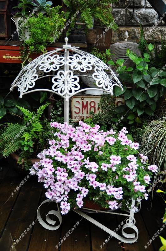 Jard n decoraci n de hierro forjado acabado blanco retro for Arboles florales para jardin