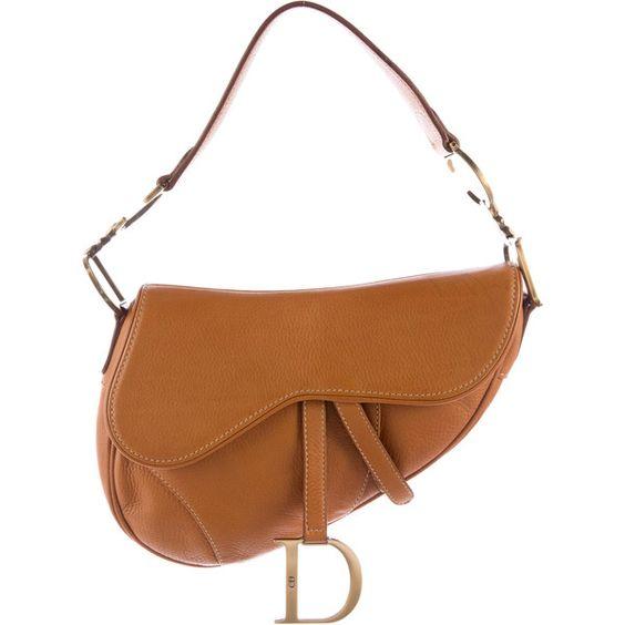Pre-owned Christian Dior Leather Saddle Bag ($225) ❤ liked on Polyvore featuring bags, handbags, shoulder bags, brown, brown purse, white leather shoulder bag, white purse, brown shoulder bag and genuine leather shoulder bag