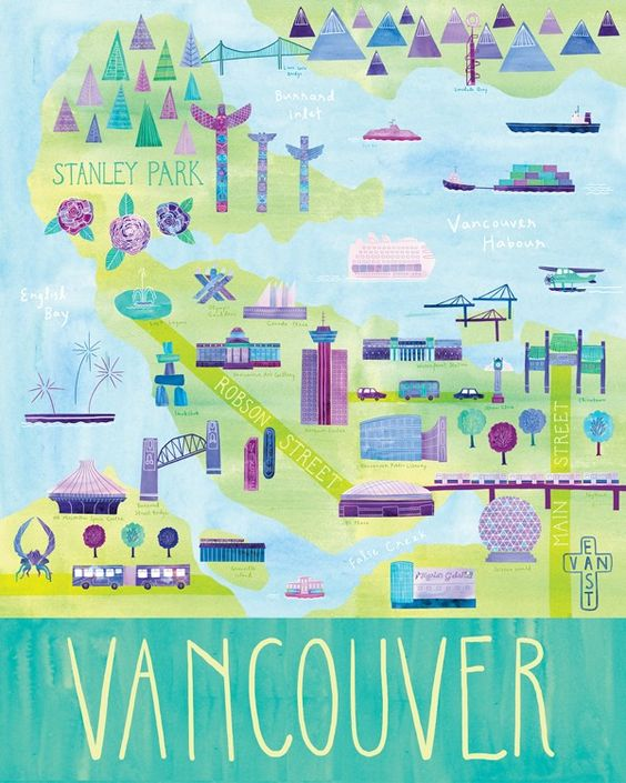 """Illustrated Vancouver Map, 24"""" x 30"""", digital print of an illustration by Marisa Midori aka Marisa Seguin, originally from Vancouver, now in Milwaukee, Wisconsin"""