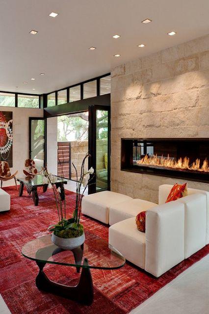 Beautiful fireplaces and design on pinterest for Disenos de salas modernas