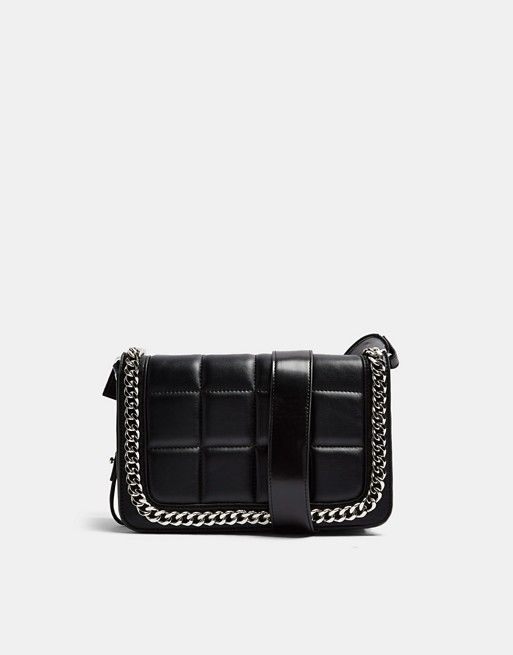 Topshop crossbody bag with chain detail in black