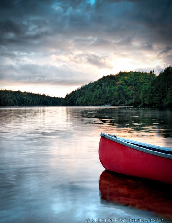 Algonquin Park Lake and Canoe
