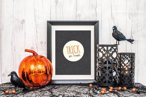 Trick or Treat Printable, Halloween 8x10 Print / Gradybug Designs