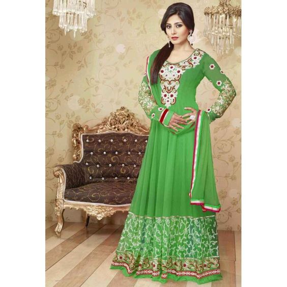 Rimi sen green floor touch gown type salwar suit by for Floor touch gown