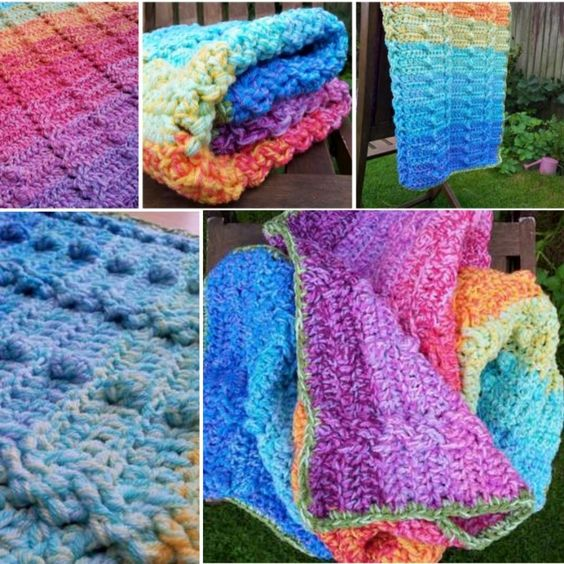 Bobble Stitch Crochet Blanket Pattern Video Tutorial Free pattern, Rainbow ...