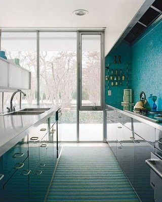 teal wall, high gloss reflective units