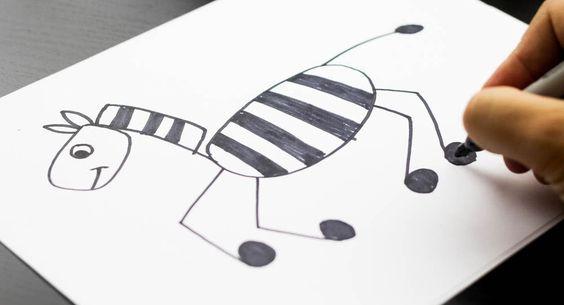 Three ways to draw a horse/zebra (easy, medium, and hard)