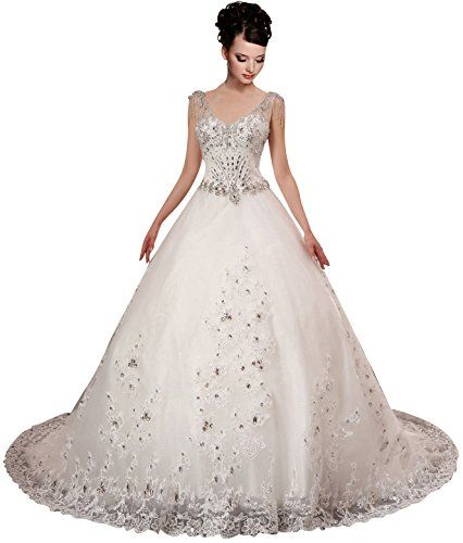 A-plum White Strap Ball Gown In Lace Layered Wedding Dress 14 A-PLUM http://www.amazon.com/dp/B00MGAHP14/ref=cm_sw_r_pi_dp_GL5Mub1P64Z33