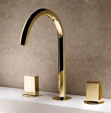 Simple Luxury Gold Brass Swan Shape Bathroom Sink Faucet Dual Handles Tub