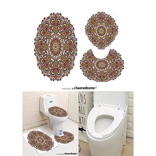 Chaoranhome Pattern Bath Mat Set 3 Piece Bathroom Mats Circle