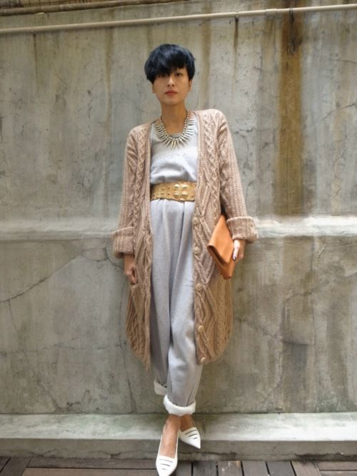 Some people are just too cool | Sweater and sweatpants... #Fashion by Hilary Tsui.