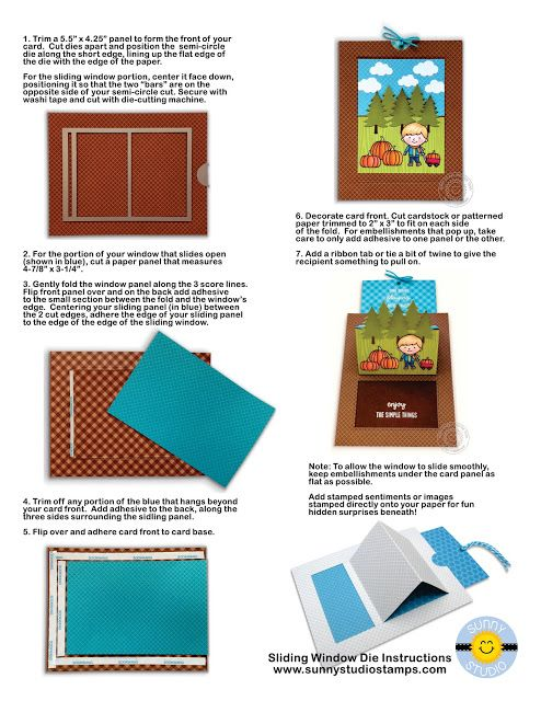 Sunny Studio Stamps Instructions For Sliding Window Pop Up Dies Fun Fold Cards Slider Cards Fancy Fold Cards