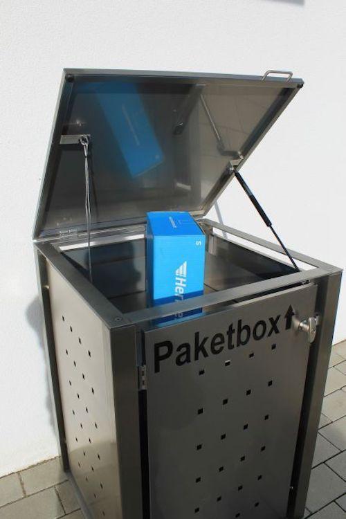 Paketkasten Edelstahl Die Praktische Ablage In Der Mulltonnenbox Mulltonnenboxselberbauen Paketbox In 2020 Paketkasten Mulltonnenbox Paketbriefkasten
