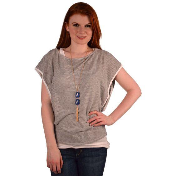 Michael Stars Double Layer Mesh Shirt in Heather Grey