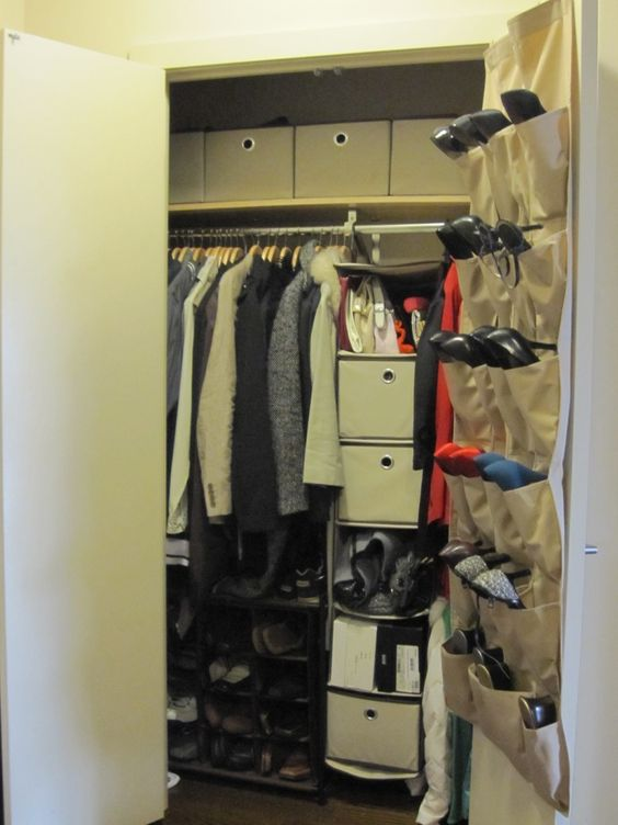 Simple Wall Mounted Hanging Shoe Storage In Closet Ideas For Small