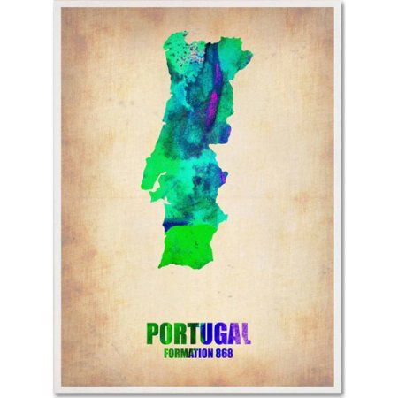 Trademark Fine Art Portugal Watercolor Map Canvas Art By Naxart - Portugal map size