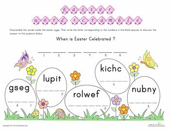 Printables Unscramble Words Worksheet unscramble easter words plays and worksheets words