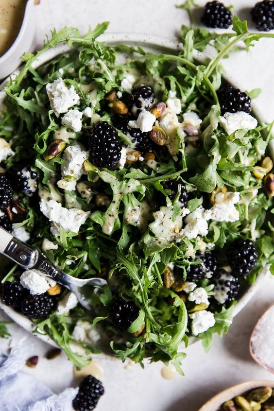 Blackberry Goat Cheese Salad by The Modern Proper. This salad is perfect in late summer, when blackberries are dripping off their stems. Pistachios, chèvre and honey-mustard vinaigrette pair perfectly with peppery arugula and sweet vine-ripe fruit.
