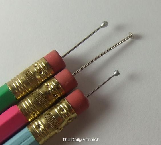 DIY Dotting Tool!  You can also use bobby pins, the tip of a pen that has died, or a mechanical pencil tip for small dots!