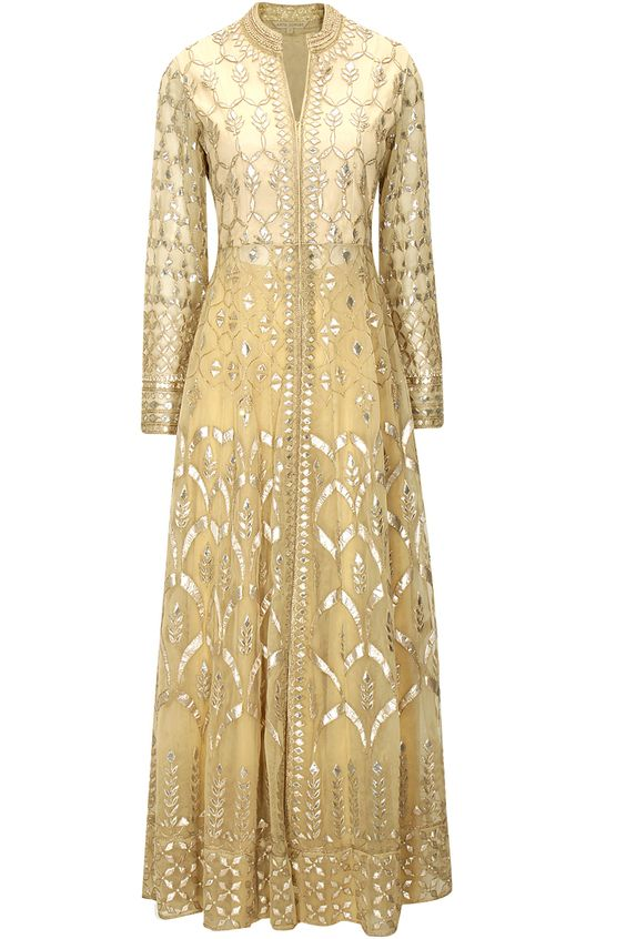 Cream gota patti embroidered jacket with sharara pants by