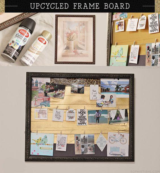 Upcycled Frame Vision Board via @Sheena Birt Tatum (Sophistishe.com)