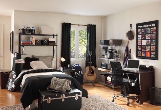 Black rooms, Dorm and Tan bedroom on Pinterest