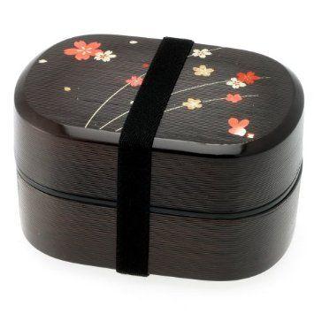 Kotobuki 2-Tiered Bento Box, Black/Red Cherry (Sakura) Blossom: Amazon.com: Kitchen & Dining