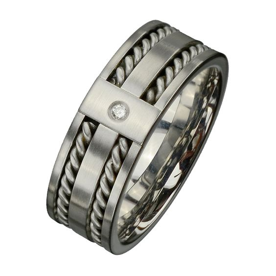 INOX Mens Ring - Stainless Steel w/ twist cable