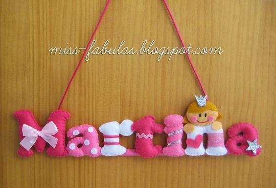 Baby name felt PRINCESS - Nombre bebe fieltro PRINCESA CONTACT: carmenmissfabulas@gmail.com