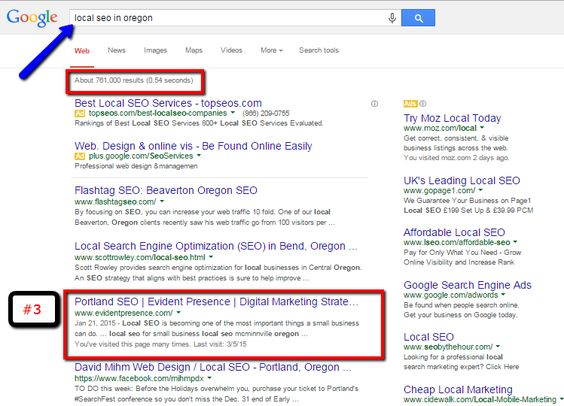 Local SEO results for Evident Presence. #localseo #mcminnvilleseo