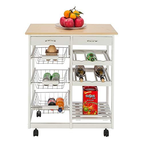 Kitchen Utility Cart 3 Tier Rolling Grocery Cart Organizer Storage Dining Table Wooden Kitchen Island Trolley Serving Wood Kitchen Kitchen Cart Dining Storage