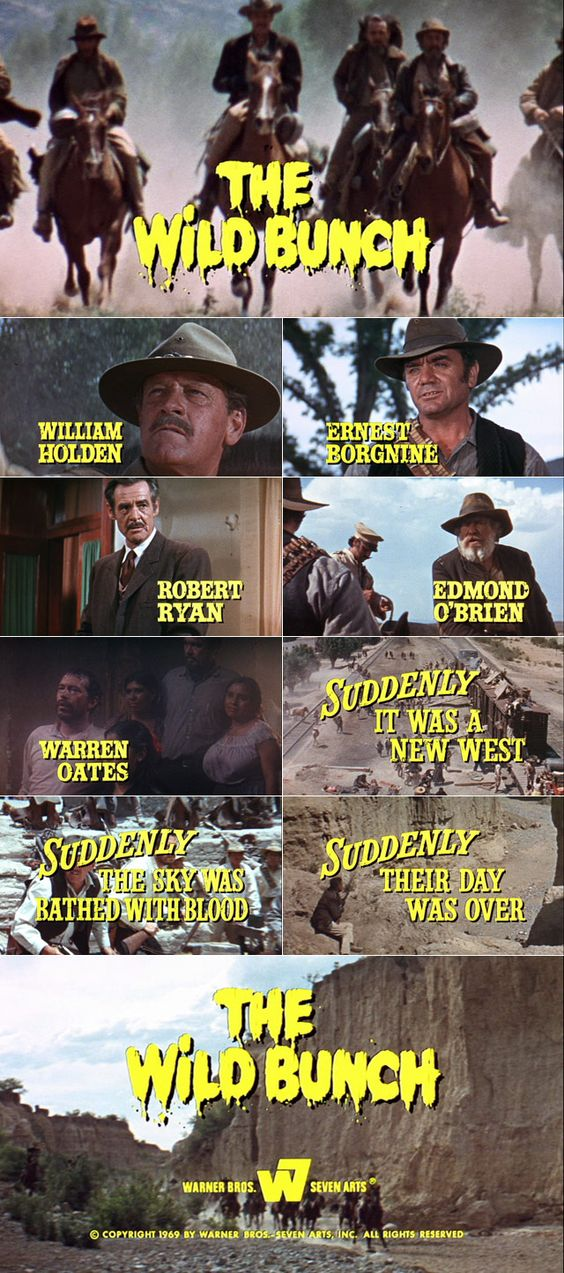 The Wild Bunch (1969) trailer typography