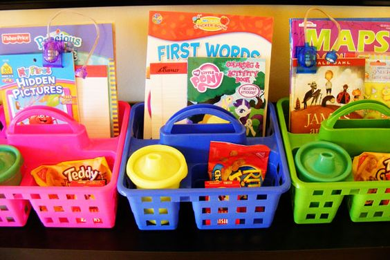 Dollar Store Road Trip Busy Baskets for Kids