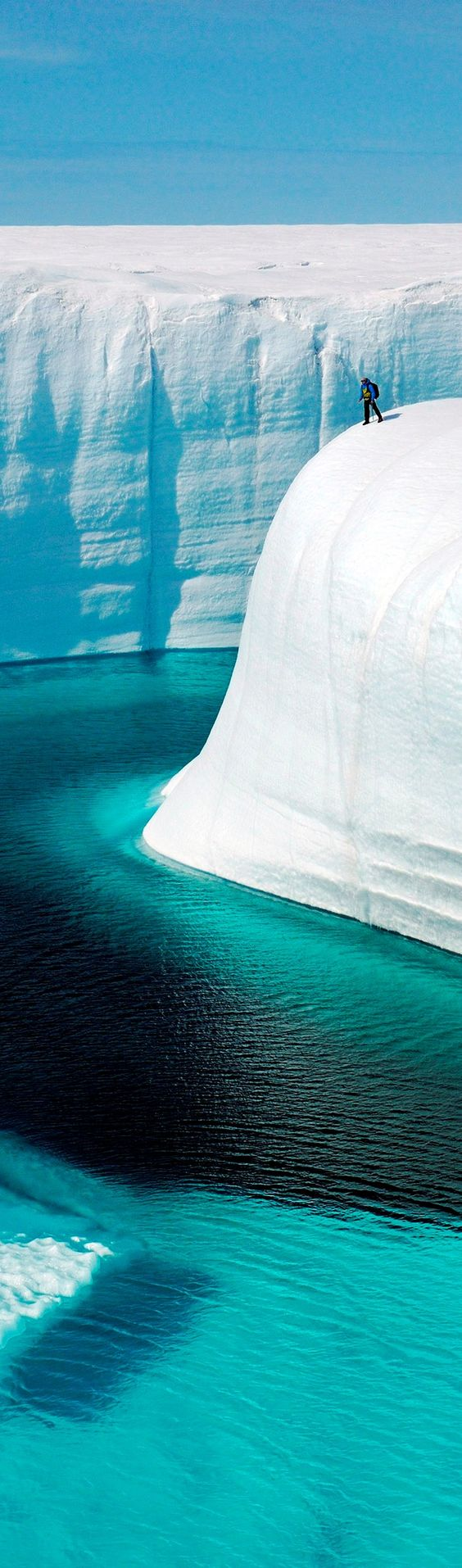 The ice canyons in Greenland were carved by meltwater and are as deep as 150 feet.