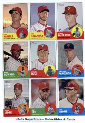 """2012 Topps Heritage Philadelphia Phillies Base Team Set (Sealed)- 16 Cards including Roy Halladay, Ruiz, Hunter Pence, Howard,Lee, Utley, Jim Thome, Lee, Papelbon, Charlie Manuel & more! by Topps Heritage. $14.95. Set is shipped in a storage box with the """"GotBaseballCards"""" Seal to preserve the mint condition of these cards!. Check back weekly, as we are always adding more inventory!!. Great looking team Base set from 2012 Topps Heritage Baseball !! Short Print Cards ar..."""