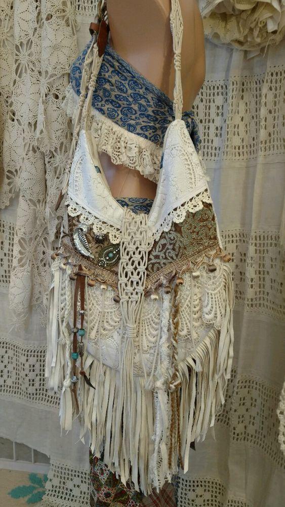 Handmade Vintage Lace Shoulder Bag Faux Leather Fringe Hippie Boho Purse tmyers #Handmade #ShoulderBag