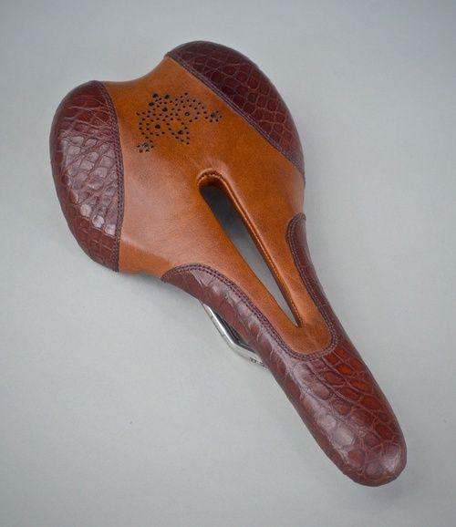 Custom crocodile leather two tone Selle Italia SLR Ti — Leh Cycling