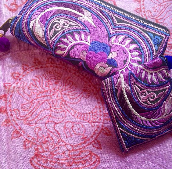 NEW IN STOCK! Our beautiful Purple Feather Hmong Purse & Coin Purse & Violet Mantra Scarf ॐ www.ohmboho.com ॐ