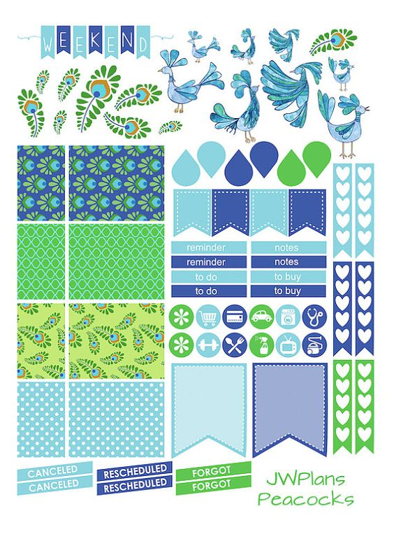 PRINTABLE! Erin Condren Planner Peacocks Weekly Kit