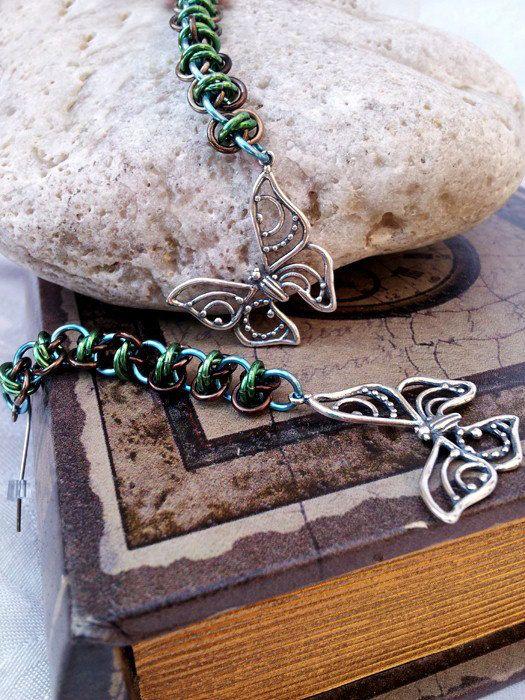 Sterling Butterfly Earrings  Green Brown by LittleCoveCreations, $28.00