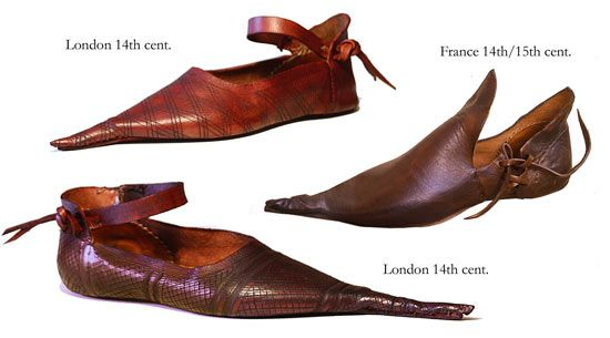 """Poulaines: the shoe from the 11th & 12th centuries that was eventually outlawed by the Church for causing everthing from hedonism, paganism & the plague. """"...a prince might wear shoes as long as he liked, pikes could not be more than six inches long for a plain commoner, twelve inches for a landowner (bourgeois), Knights, one and a half feet.""""    http://toeslayer-historyofshoes.blogspot.com/2009/01/brief-history-of-poulaines-or-long-toed.html"""