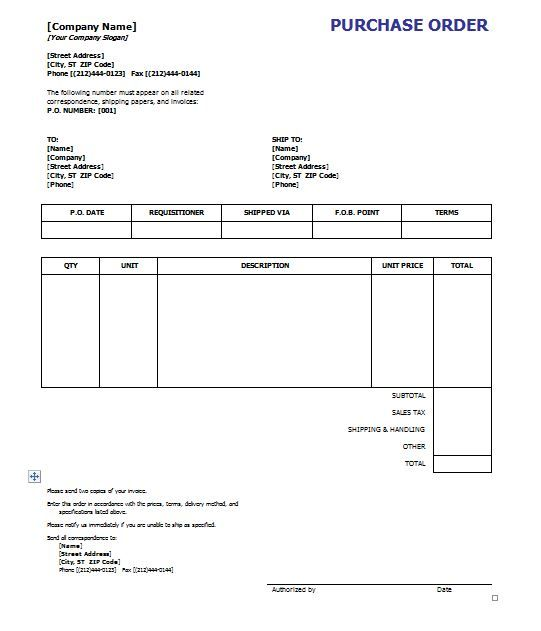 37 Free Purchase Order Templates In Word Excel Purchase Order